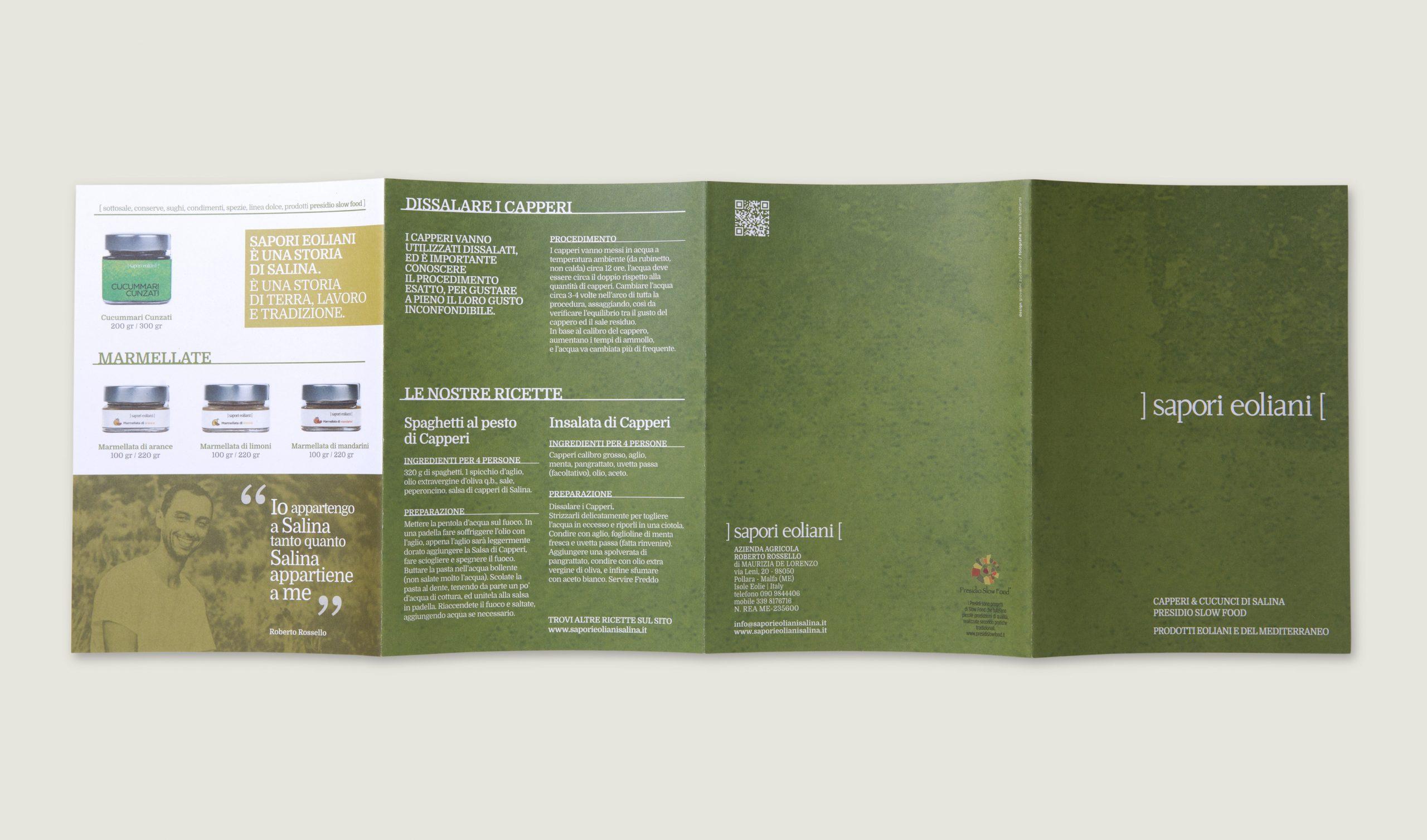 Sapori Eoliani identità visiva azienda di Salina - Esterno brochure