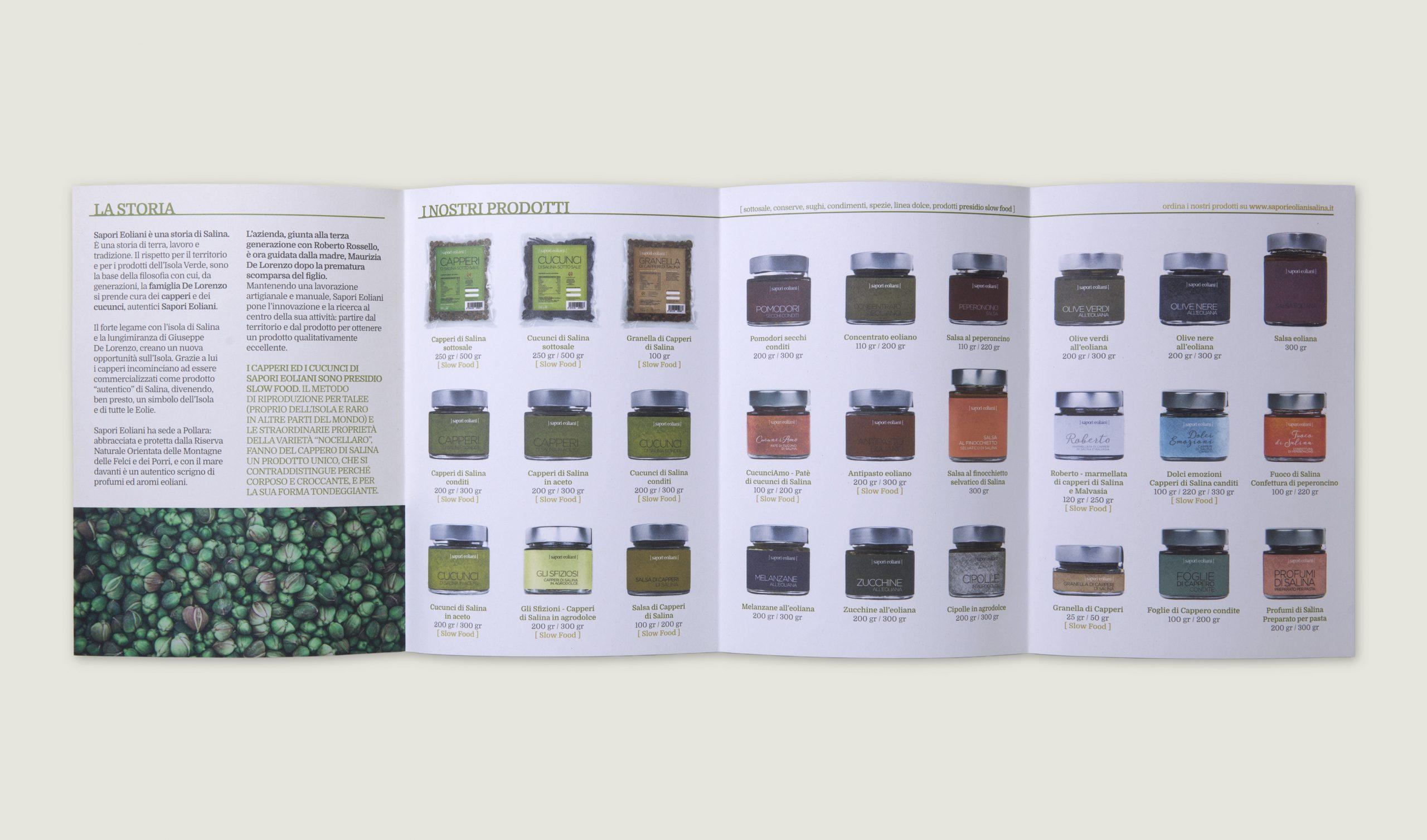 Sapori Eoliani identità visiva azienda di Salina - Interno brochure